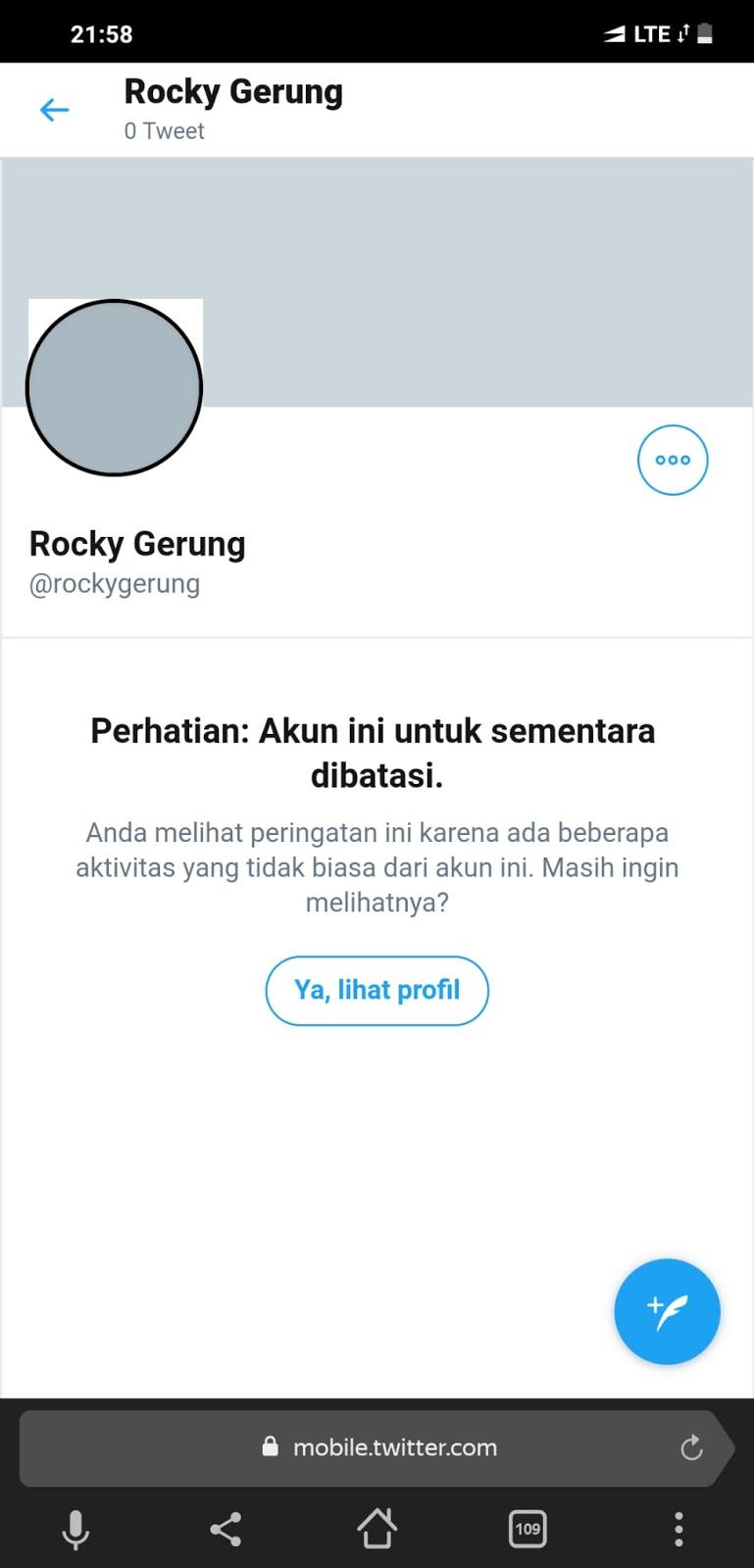 Akun Twitter Rocky Gerung Hilang, Ada Yang Panik?