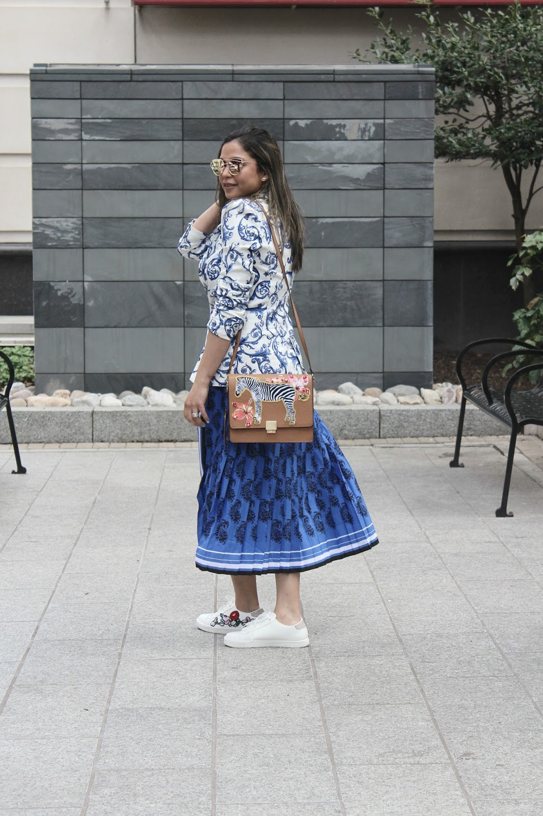 how to dress like  a strret style star, sneakers, embroidered sneakers, banana republic blue paisley dress, print on print, aldo zebra bag, print mixing, fashion, style, ootd, blue dress , redblue and white, myriad musings, Saumya Shiohare