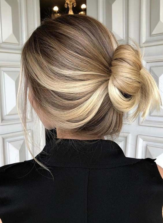 Pretty Balayage Ombre Bun Hairstyles for 2018