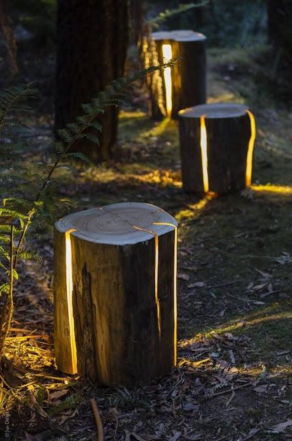 Garden Natural Logs Lighting Ideas