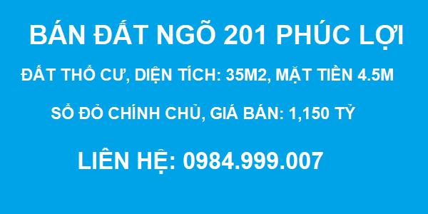 Bán đất Ngõ 201 Phúc Lợi, Long Biên, DT 35m2, MT 4.5m, SĐCC, giá 1.150 tỷ, 2020