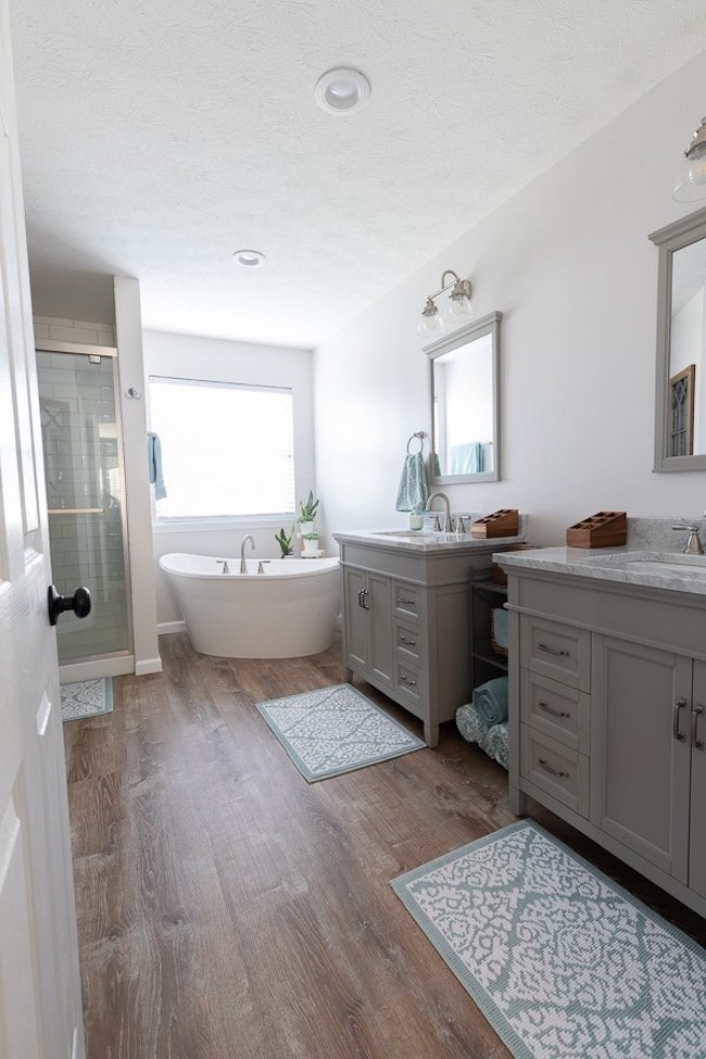 Bright, Beautiful and Modern Master Bathroom at Petals, Pies and Otherwise featured on Pieced Pastimes