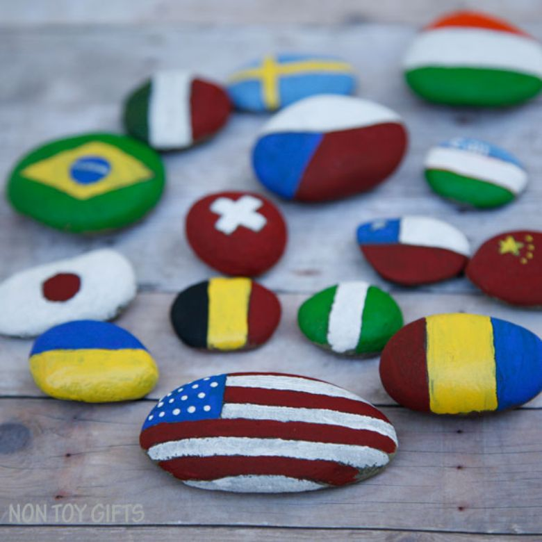 flag rock painting ideas for kids
