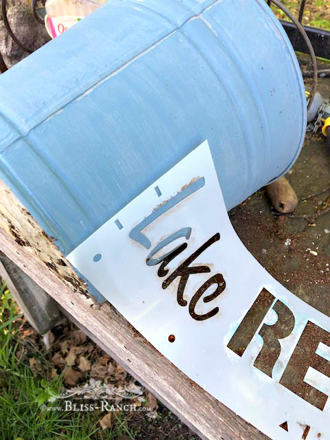 Painted Stenciled Galvanized Buckets, Bliss-Ranch.com