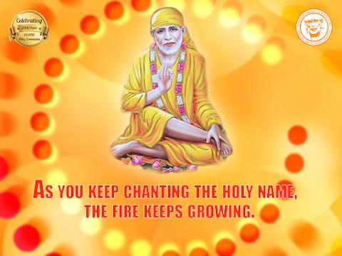 Chant Holy Name - Sai Baba Sitting & Blessing Painting Image