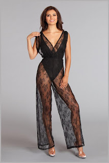 Lace overlay jumpsuit with bodysuit lining