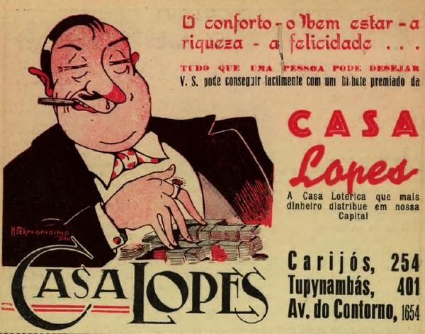 Anúncio de 1939 promovendo a lotérica Casa Lopes de Belo Horizonte