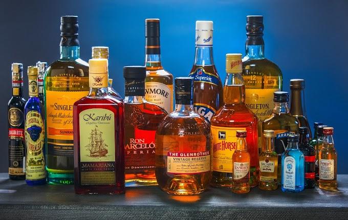 Distilled Alcoholic Beverages - vodka, Rum, tequila, brandy, whisky, Gin