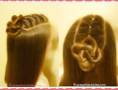 Elastic ponytails with twisted bun hairstyle.
