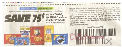 "$0.75/2 Nabisco Cookie Or Cracker Products Coupon from ""SMARTSOURCE"" insert week of 1/10/21(exp 2/20/21)."