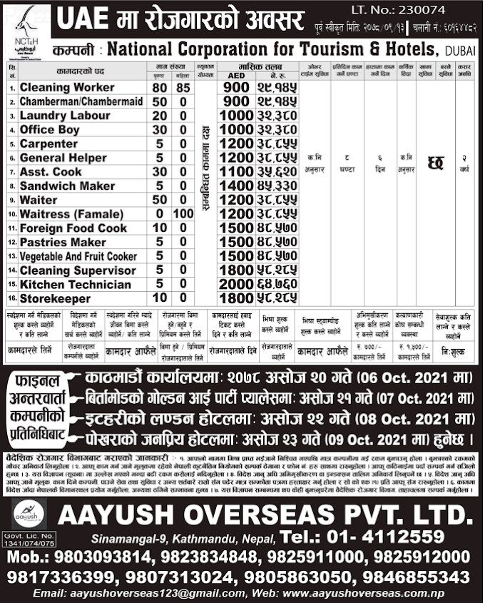 Jobs in UAE for Nepali, Salary NRs 58,285