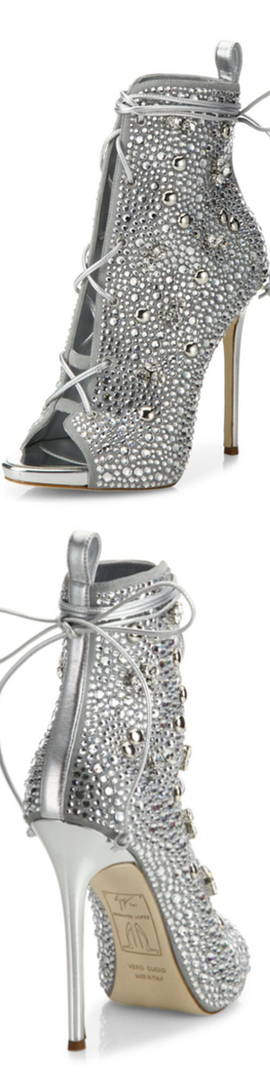 Giuseppe Zanotti for Jennifer Lopez Lynda Crystal Open-Toe 120mm Bootie