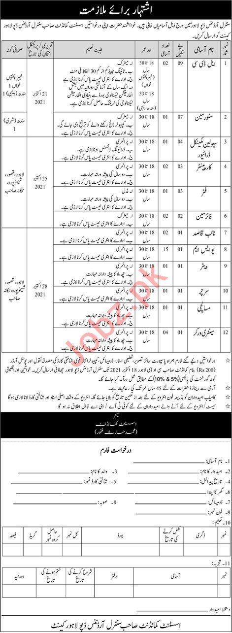 Pak Army COD Lahore Jobs 2021