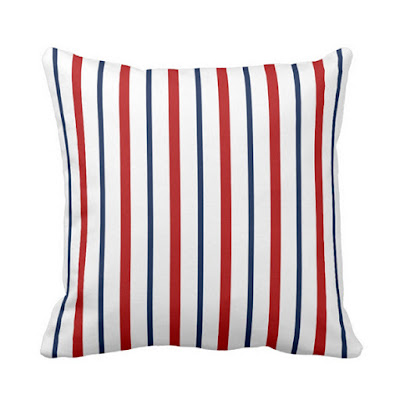 Nautical Striped Pillow - Navy Blue, White, Red