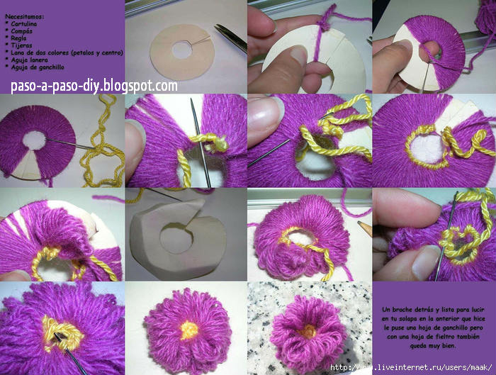 Como Hacer Flor Pom Pom Diy Paso A Paso - Como-hacer-una-flor-de-lana