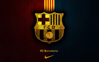 FCB FC Barcelona and Nike Logo on Leather Texture HD Football Wallpaper