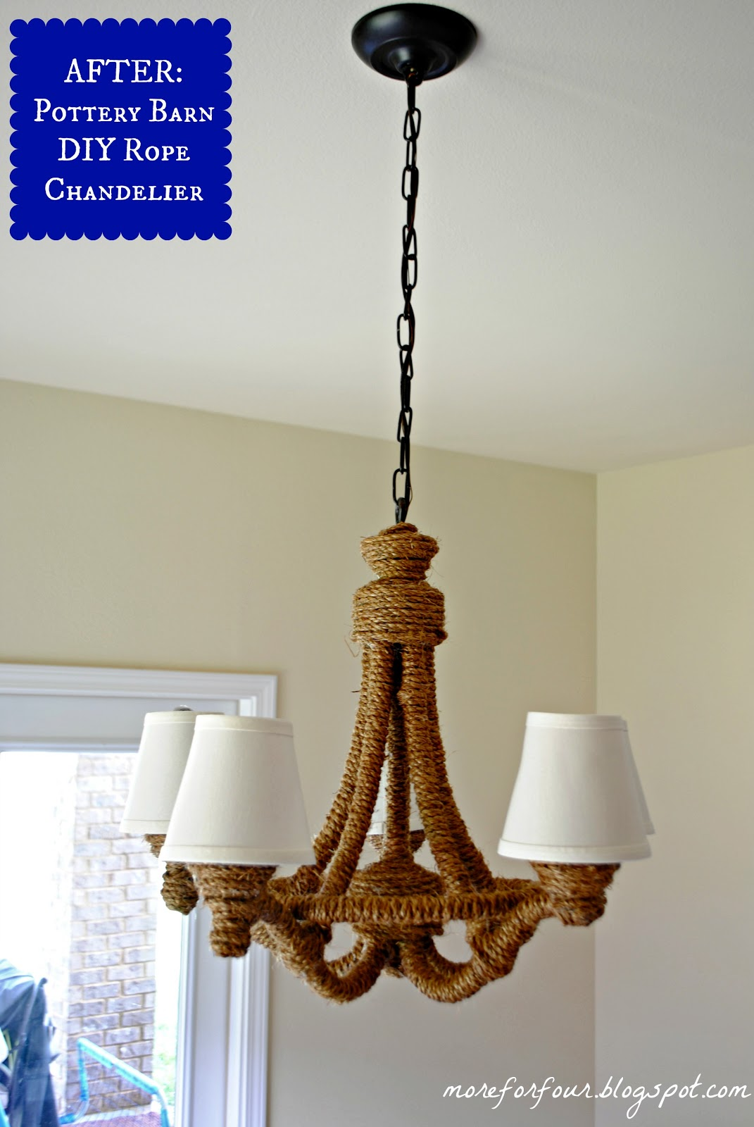 More For Four Diy Pottery Barn Rope Chandelier