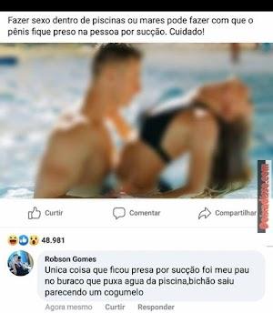 Cuidado com sexo na piscina