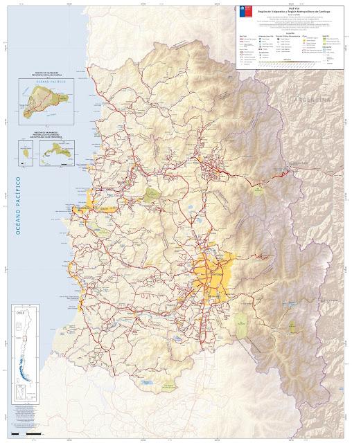 Mapa rodoviário do Centro do Chile - região Metropolitana e Valparaiso