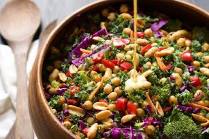 Power Rainbow Salad With Dijon Peanut Sauce