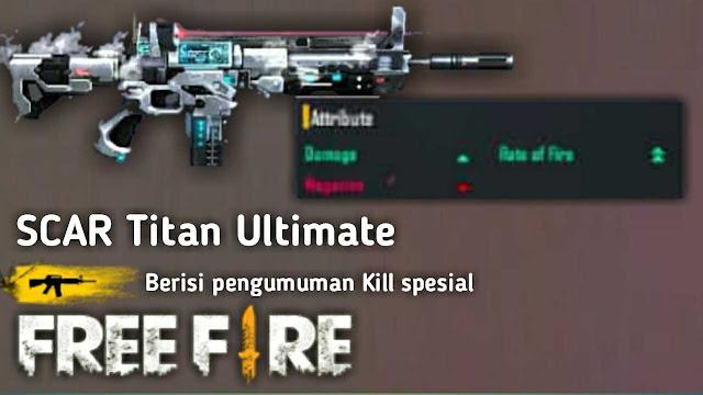 Banyak Dipakai! Inilah 8 Skin Senjata Jarak Jauh (Berpeluru AR) Paling Mematikan di Game Free Fire, scar ultimate titan