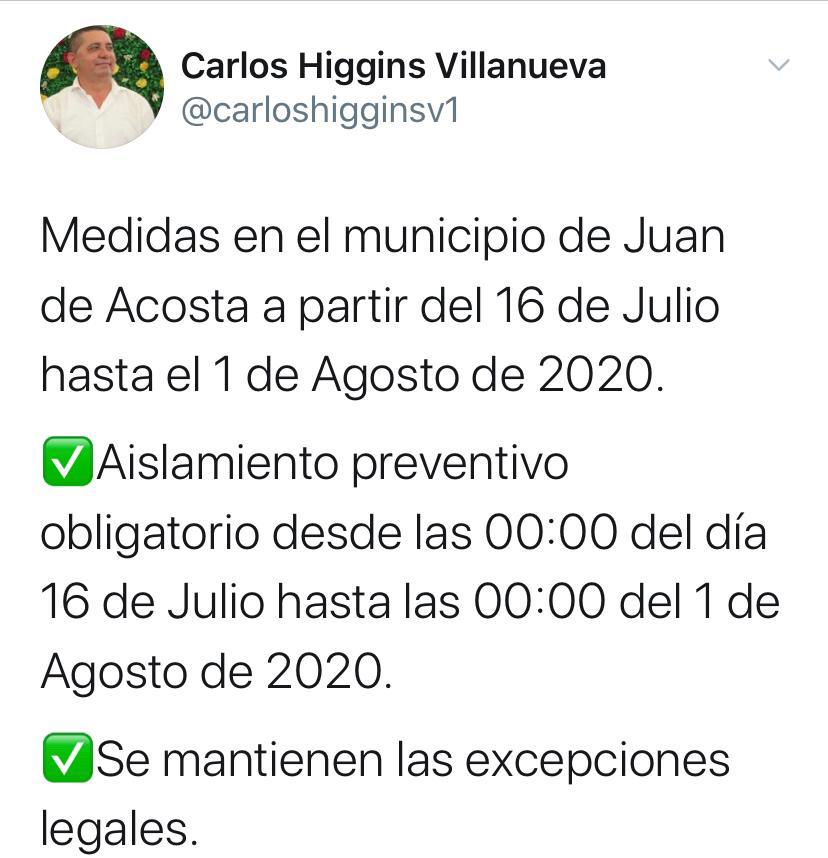 Medidas tomadas en Juan de Acosta entre el 16 de julio, hasta el 1 agosto