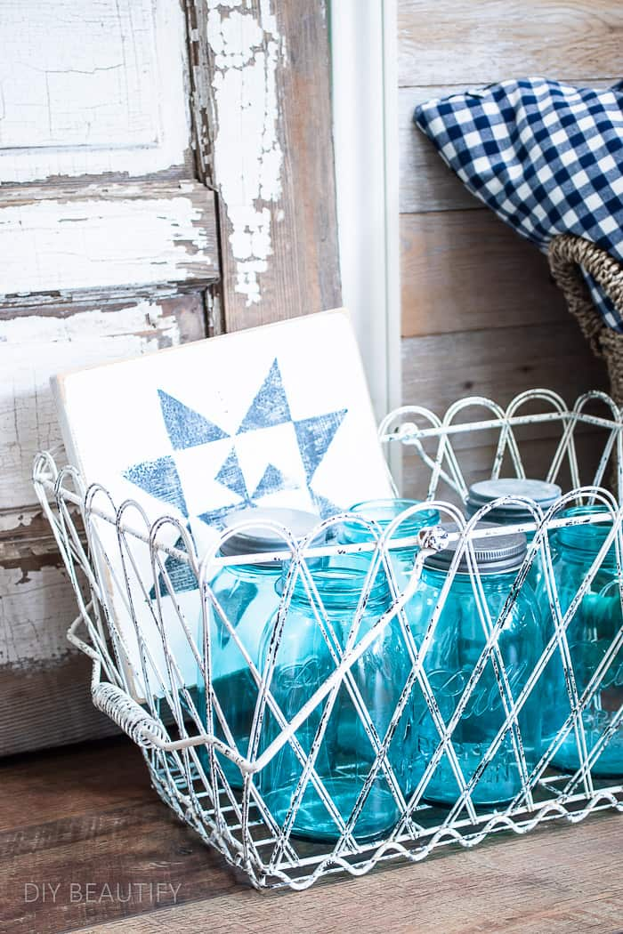 vintage mason jars in chippy basket