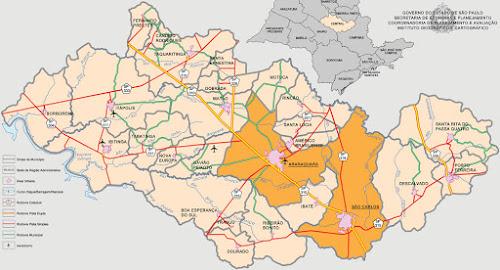 Mapa da região de Araraquara - SP