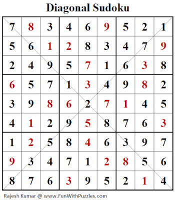 Solution of Diagonal Sudoku Puzzle (Fun With Sudoku #267)