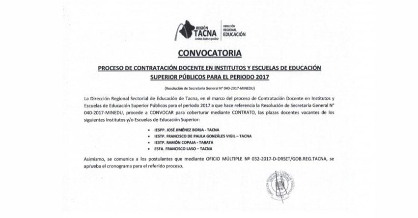 DRE Tacna: Publicación de Plazas para Contrato Docente en Institutos y Escuelas de Educación Superior Públicos 2017 - www.educaciontacna.edu.pe