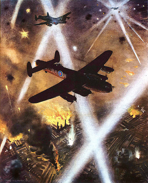 a Roy Nockolds illustration of a war bomber over a burning city at night