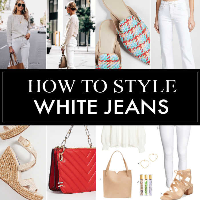white jeans, white sweater, woven mules, red quilted bag