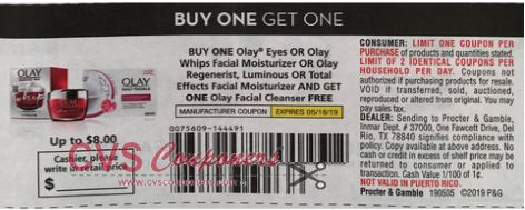 BOGO FREE Olay Facial Cleanser (Free) wyb Eye, Whips Facial Moisturizer or Regenerist, Luminous or Total Effects Facial Moisturizer Max Value $8.00 RMN 5-5