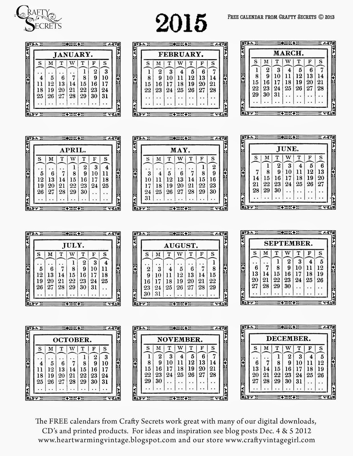 Crafty Secrets Heartwarming Vintage Ideas And Tips Our Free Printable Vintage Calendars