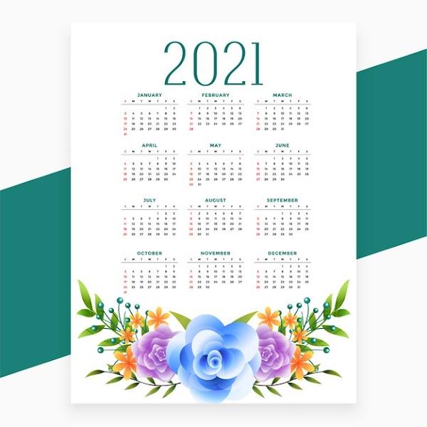 Vector de calendario 2021 con un estilo floral