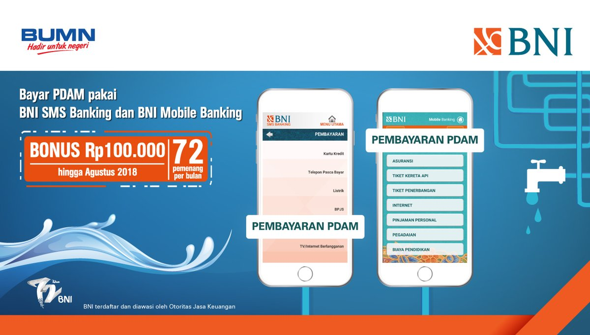 Bank BNI - Bonus 100 Ribu Bayar PDAM via SMS Banking atau Mobile Banking