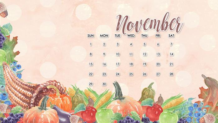 free november desktop calendar