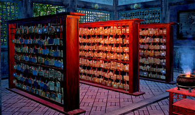The ema racks inside Man Yuan Temple.