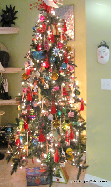 eclectic colorful decorated christmas tree