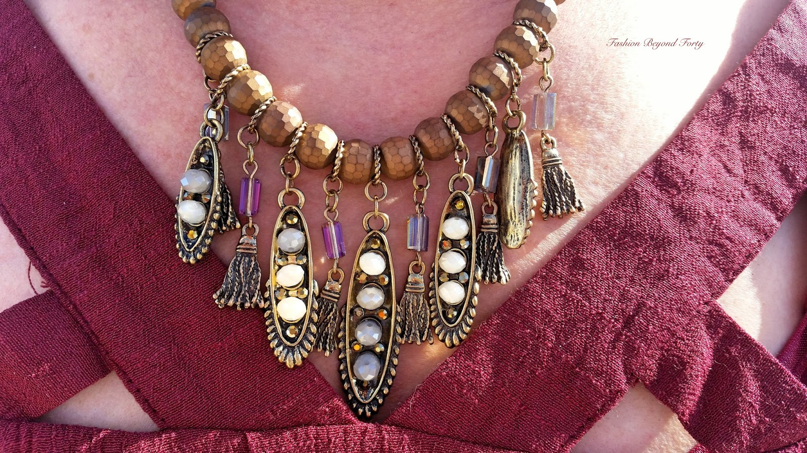 PinkBlush Brown Beaded Fringe Necklace / Earrings Set