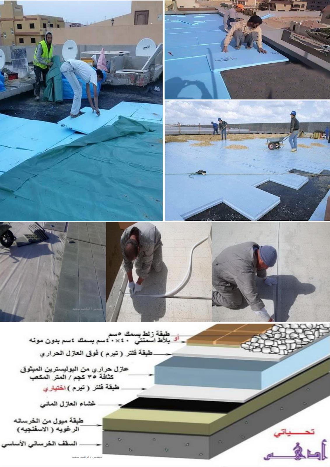 """عزل الحرارة باستخدام الفوم """" البولي سترين """" polystyrene foam تنفيذ العزل الحرارى للاسطح"""