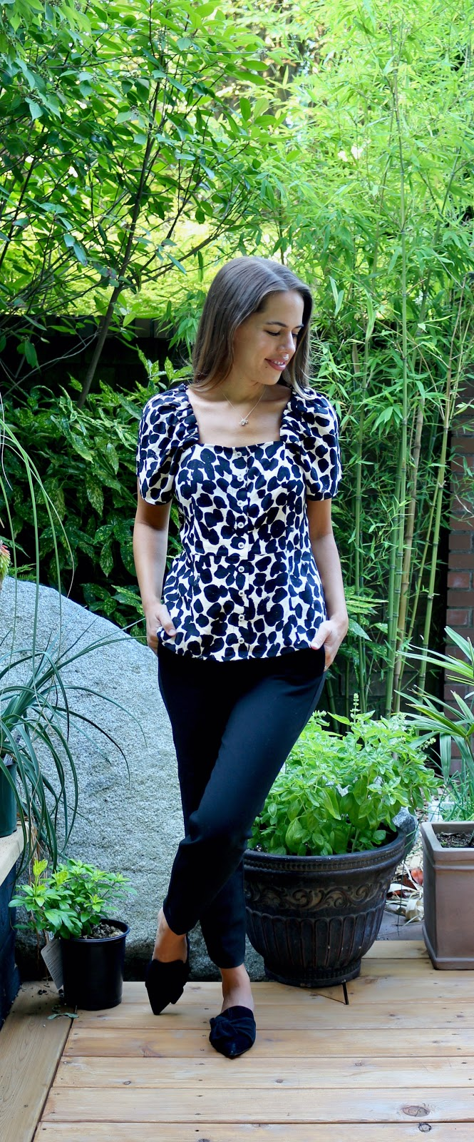 Jules in Flats - H&M Square Neck Puff Sleeve Top (Business Casual Workwear on a Budget)