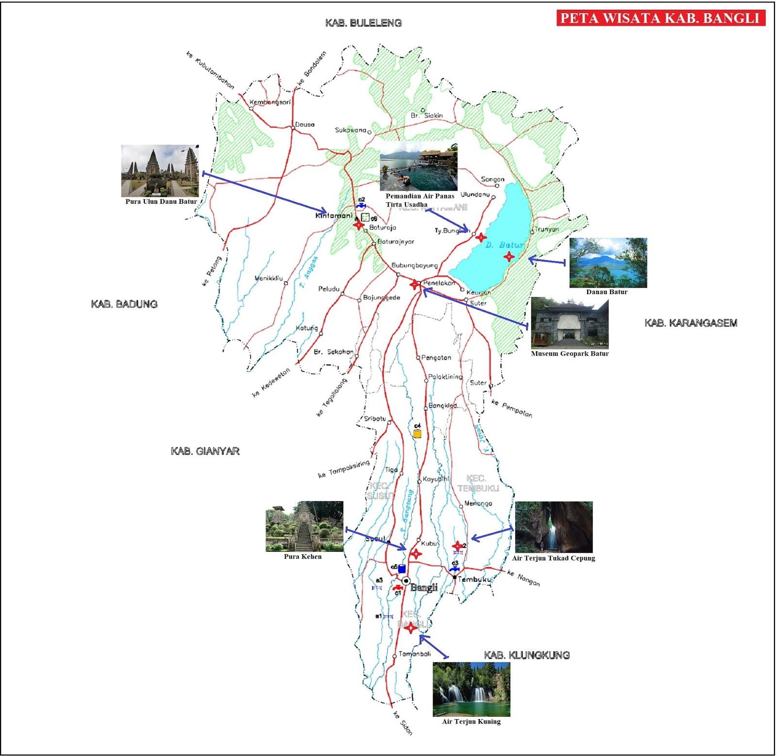 Peta Wisata Kabupaten Bangli