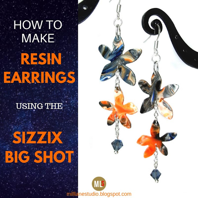 Orange and Blue Daisy Chain earrings