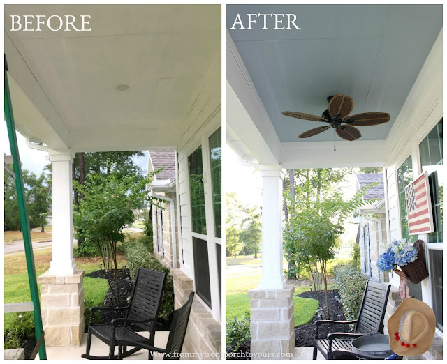Porch Ceiling Makeover-DIY-Haint Blue Porch Ceiling-Porch Ceiling Fan-Before & After-Blue Porch Ceiling- From My Front Porch To Yours