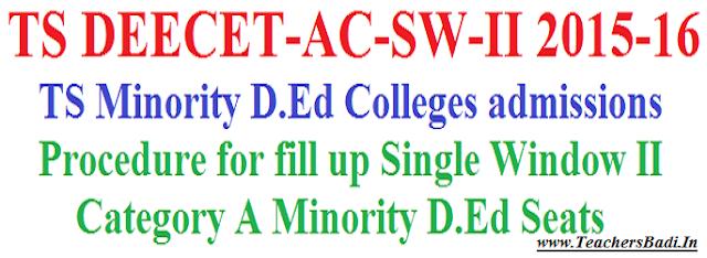 TS Minority D.Ed Colleges,TS DEECET-AC-SW-II, D.Ed Seats