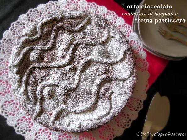 torta con frolla al cioccolato, confettura di lamponi e crema pasticcera