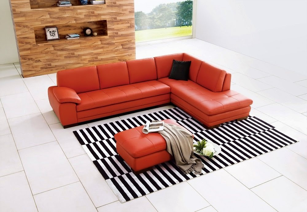 Orange couch orange leather couch for Leather sectional sofa nj