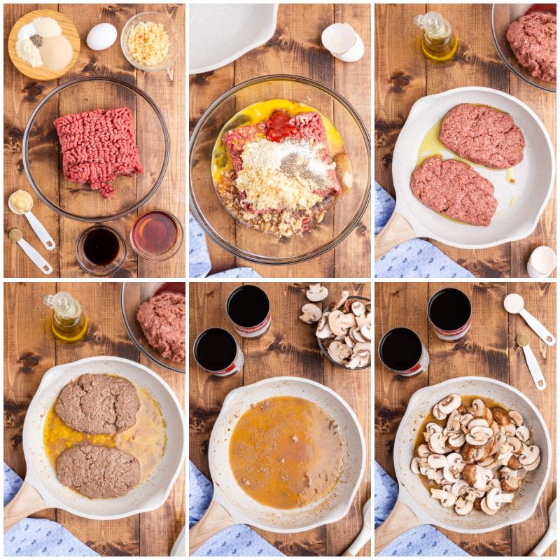 Six photos of the process of making Keto Salisbury Steaks with Mushroom Gravy.