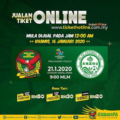 Harga Tiket Kedah vs Tai Po FC Kelayakan ACL 2020